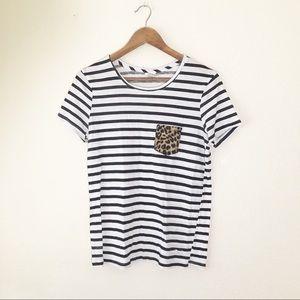 🌿 PINK Striped Tee Shirt S Cheetah Print Animal